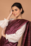 Coordinates- Chanderi Silk Saree in Wine with Balloon Sleeve Chanderi Blouse in Off White