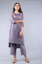 Grape Purple Chanderi Handloom Embroidered Kurta