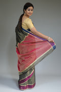 Chanderi Tissue Saree in Oak Brown, Blue & Magenta