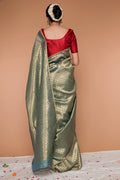 Handwoven Zari Sari in Gold & Pistachio green