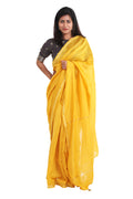 Chanderi Mercerized Saree in Mustard Yellow