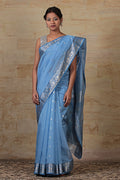 Chanderi Mercerized Silk Saree in Blue & dark Blue with Jacquard border