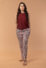 Co-ordinate Set- Maroon Top in Sambalpur Hand loom Cotton, Cotton Hand Block Printed Pants in Lilac (Set of 2)