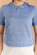 Chambray Blue Crop Top with Collars, in Sambalpur Handloom Cotton