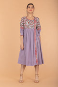Gathered Wrap Dress in Lilac & Red Hand Block Printed Cotton with slip (Set of 2)