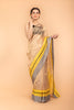Golden Tissue Handloom Saree with Grey & Yellow Broder