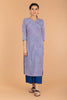 Slant Neck Pinstripe Kurtain Lilac & Blue Hand Block Printed Cotton