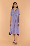Pinstripe Cotton Empire Line Dress in Blue & Lilac Hand Block Print
