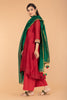 Chanderi Handloom A Line High Low Kurtawith Cotton Palazzo in Red & Deep Green Chanderi Dupatta (set of 3)