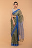 Metallic Khaki Green Tissue Saree With Blue Border(Handloom)