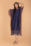 Chanderi Handloom Kaftan with Belt in Navy Blue