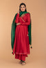 Embroidered Chanderi Handloom Anarkali With Cotton Palazzo in Red, Deep Green Chanderi Dupatta (Set Of 3)