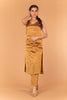Gold Zari Straight Kurta with V- Neck