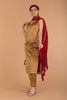 Gold Zari Straight Kurta With Pants, Red Chanderi Dupatta with Border & Tassels (Set of 3)