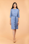 Chambray Blue Straight Fit Shift Dress in SambalpurHandloom Cotton