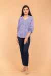 Pinstripes Raglan Sleeves Cotton Top in Blue & Lilac Hand Block print
