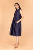 Navy Blue Dress With Front Placket in Chanderi Handloom