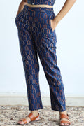 High waist pants in blue hand block printed cotton