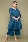 Teal Blue Chanderi Handloom Gathered Wrap Kurti with Cropped Cotton Palazzo (Set of 2)