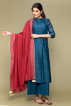 Teal Blue Pleated Chanderi Handloom Kurta with Cotton Pants & Red Gota Work Dupatta (Set of 3)