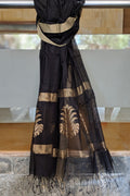Chanderi Mercerized Silk Dupatta in Black