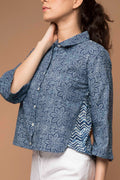 Crop shirt in Indigo Blue hand block printed cotton