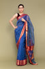 Sapphire Blue Handloom Silk Saree with Red Jacquard Border