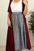 Gathered Skirt in Grey with Maroon Long Jacket
