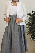 Gathered Skirt in Grey & White Cotton Jacket with gathers