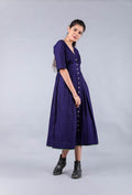 Empire line Maxi dress Midnight blue handwoven cotton
