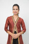 Chanderi A Line Jacket in Rust with gota trims