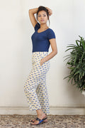 Block printed cotton straight pants in off white