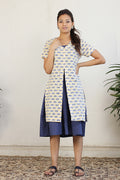Gathered dress with block print jacket and belt in Navy Blue and Print (2pc set)