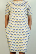 Block printed shift dress in White
