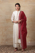 Cotton Maroon Dupatta with gota work