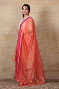 Chanderi Kurta and Palazzo in off white with gota work, hand woven chanderi dupatta in orange & pink (set of 3)
