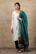 Chanderi Kurta & cotton trousers in off white & black, with hand woven black & green dupatta (set of 3)