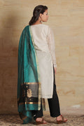 Chanderi Mercerized Silk Dupatta in Green & Black