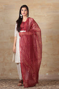 Chanderi Mercerised Silk Dupatta in Maroon & gold