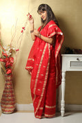 Chanderi Mercerized Silk Saree in Red