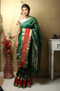 Chanderi Silk Saree in dark Green
