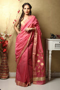 Chanderi Mercerised Silk Saree in Pink