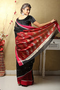 Chanderi Mercerized Silk Saree in Black & Red