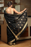 Chanderi Mercerized Silk Saree in Black &  Gold