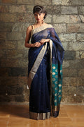 Chanderi Mercerized Silk Saree in Blue & Aqua