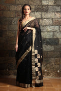 Chanderi Mercerized Silk Saree in Black
