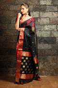 Chanderi Silk Saree in Black and Red