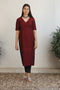 High Slit Kurta in Maroon