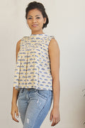 Inverted pleats, block printed cotton top in Navy and yellow