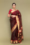 Burgundy Red Handloom Silk Saree with Jacquard Border